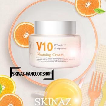 Kem Dưỡng Trắng Sáng Da Mặt Cao Cấp V10 Gleaming Cream Skinaz Hàn Quốc Chính Hãng - 100ml