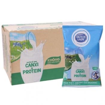 sản phẩm Thùng 48 bịch sữa tiệt trùng có đường Dutch Lady Canxi & Protein 220ml